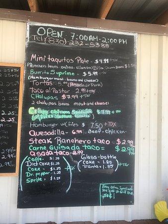 Leakey, TX: San Juan menu #2