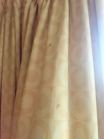 Janesville, WI: Multiple unidentified stains on the curtains in the room.  Also had a very musty smell.