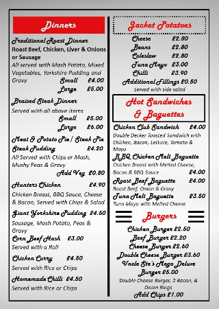 Leigh, UK: Menu