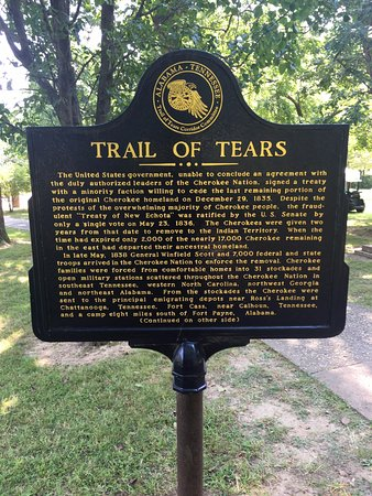 Cherokee Heritage Center : Trail of Tears historical marker outside the heritage center.