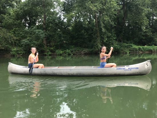 Galena, MO: Daughter and her best friend in a clam section of the James River.