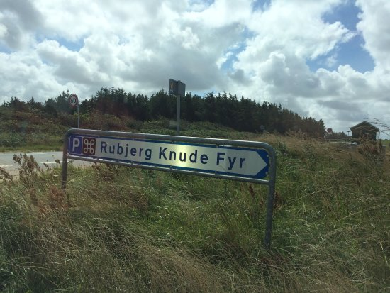 Lokken, Denmark: Sign to the parking on the road 55