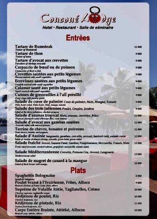 La carte de notre restaurant en anglais