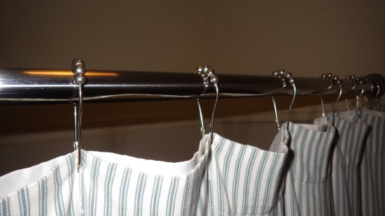 The Inn at Turkey Hill : Shower curtain rail and curtain hangers with the small rollers