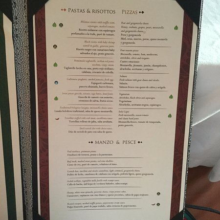 Italian Menu Picture Of Secrets The Vine Cancun Cancun Tripadvisor