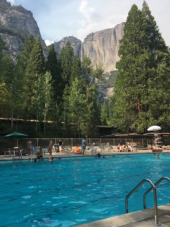 Yosemite Valley Lodge Pool With Falls Backdrop