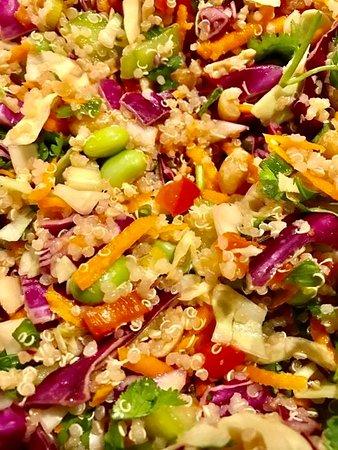 Hochatown, OK: Thai Quinoa Slaw Salad w Sweet Chili Sauce on the side.