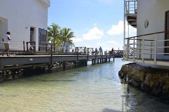 Decameron Aquarium : Entre las torres donde se encuentran las habitaciones y el edificio central
