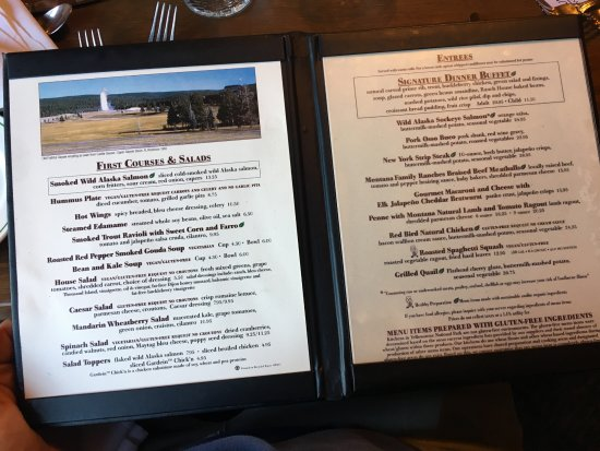 Menu Picture Of Old Faithful Inn Dining Room