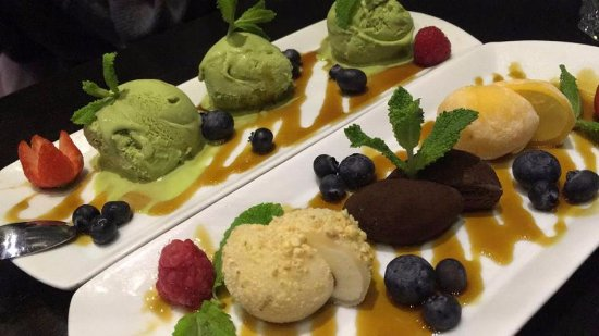 Matcha ice cream + mochi dessert
