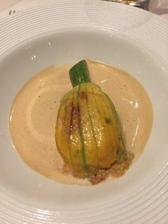 Dax Restaurant: Courgette flower stuffed with prawns & prawn bisque