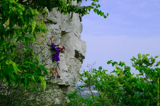 Rattlesnake Point Conservation Area: A 10 year-old boy scaling one of the rock cliffs at RP with the supervision of an instructor.