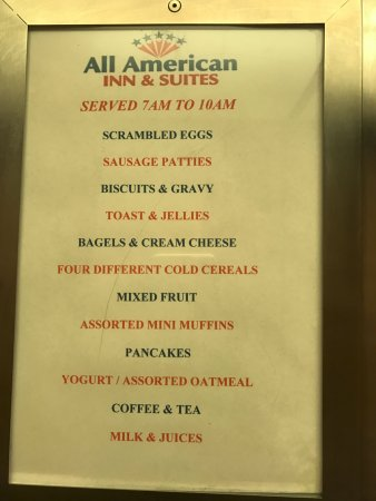 All American Inn & Suites: Full Hot Breakfast