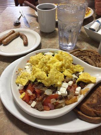 Walworth, WI: Greek breakfast skillet. Yum!