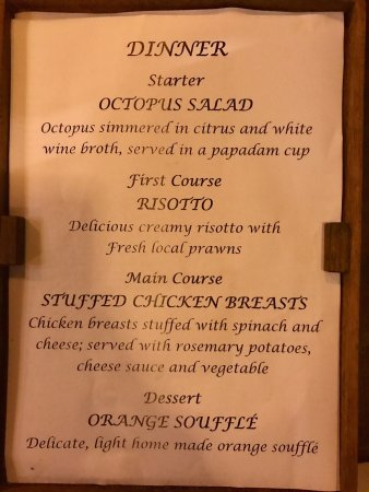 Next Paradise Boutique Resort: Three dinner menus for three different nights during our stay. The food was VERY fresh, local an