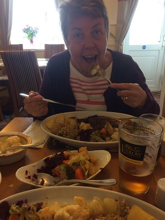 Wheathill, UK: The wife tucking in !