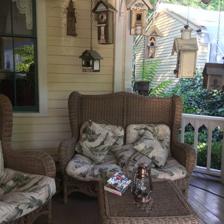 Nevada City, CA: The front porch was a great place to relax and read.