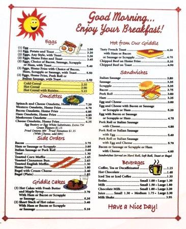 breakfast menu picture of angelos glassboro diner