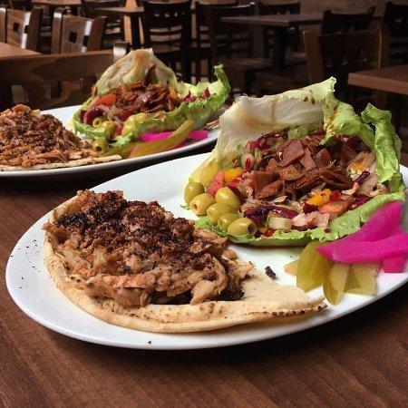 Najah Lounge : Chicken Shawarma plate with Fattoush salad