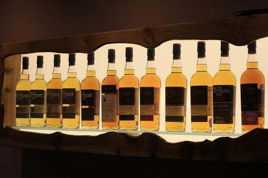 Lochranza, UK: A range of Arran Whisky bottles