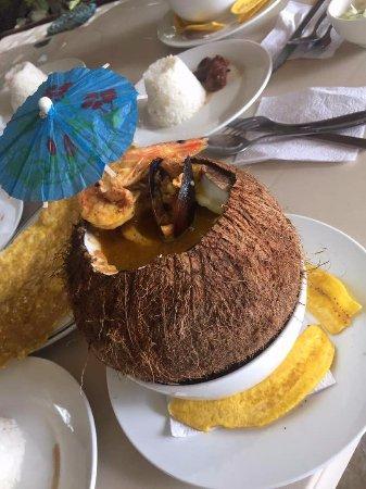 Portobelo, Panama: Sea food stew in a coconut shell, awesome choice !!!