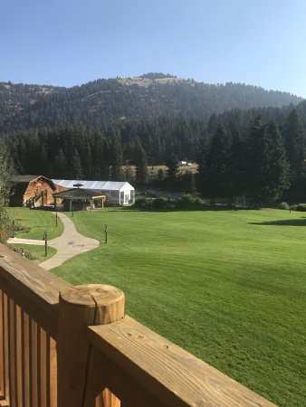 Gallatin Gateway, MT : View of wedding venue from lodge deck