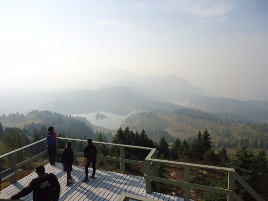 Sunshine Village: views at the top --smoke hampered