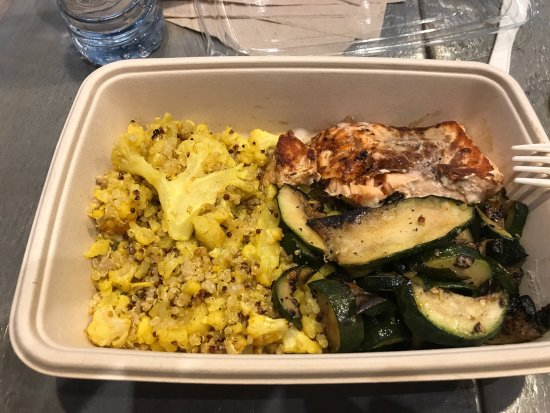 make your own plate grilled salmon grilled zucchini and mix of