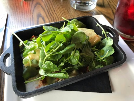Mystic Country, CT: SAVORY CREPE w/spinach, onion, mushrooms and greens served hot on a griddle