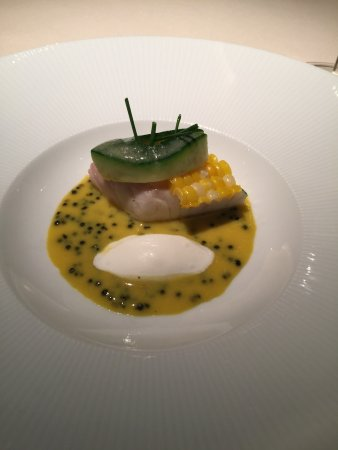 Los Gatos, CA: Striped Bass in seawater, corn, and caviar