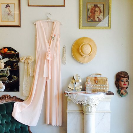 Belleville, Canada: 1930's onesie in soft peach crepe.