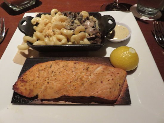 Burlington, MA: Salmon with Truffle Mac'n cheese substituted for the rice