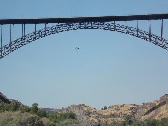 Perrine Bridge from Snake River with BASE jumper