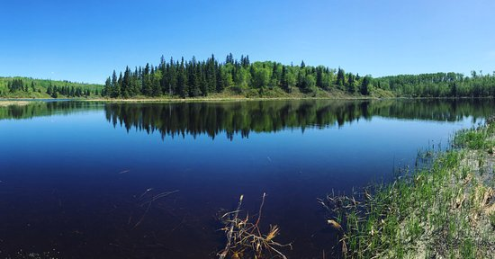 Cold Lake, Canada : panoramic of a pond on one of the trails
