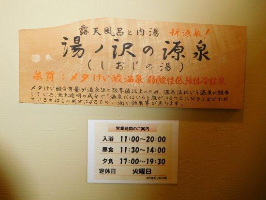 Hamadaira Onsen Shioji no Yu: 温泉標示板
