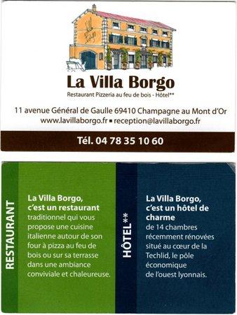 La Villa Borgo: Carte de visite