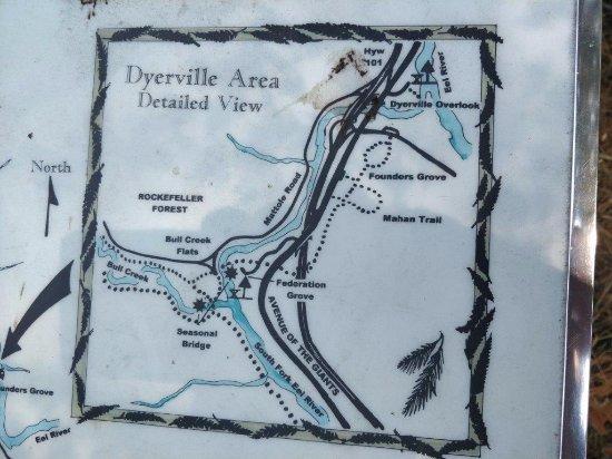 Weott, CA: cartina Dyerville area