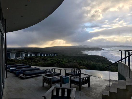 Southern Ocean Lodge: View from dining showing spa on right, rooms down on the left