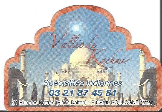 Carte Indien Restaurant.Carte Picture Of Restaurant Indien La Vallee Du Kashmir