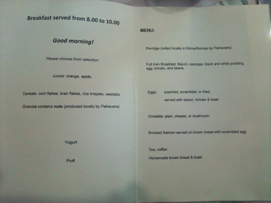 Copper Coast B&B: Breakfast menu