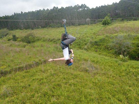 Hakalau, HI: doing the upside down zip