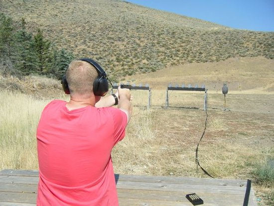 Sun Valley, ID: Glock 9mm on the plate rack