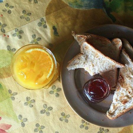 Wirksworth, UK: A perfect start to Sunday brunch, fresh orange, toast and jam