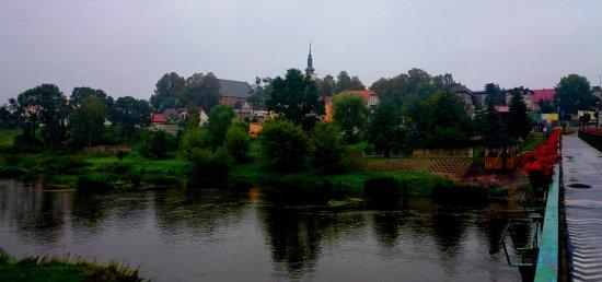 Uniejow, Pologne: Kolegiata w panoramie miasta