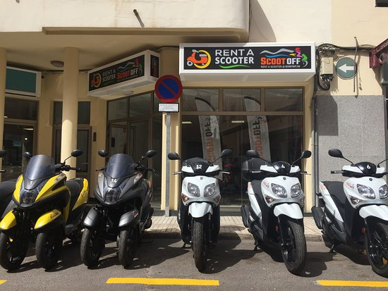 This is our shop, a scooter and motorbike rental shop, just in front of the Gran Hotel, Arrecife
