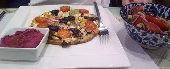 Arnside, UK: Greek Flatbread, with beetroot hummus and side salad