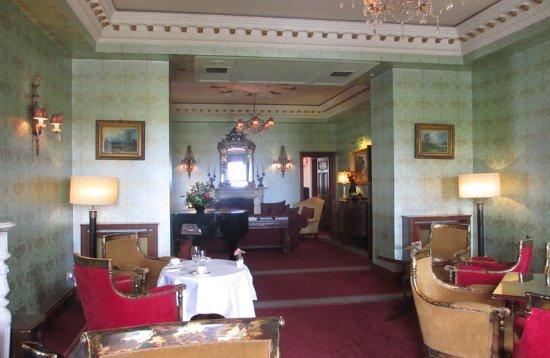 Bushypark, Ireland: drawing room with fireplace where we had tea