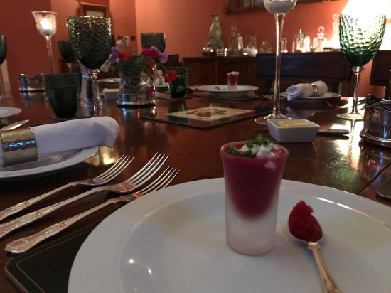 Wheathill, UK: beetroot soup shot, horseradish and vodka cream with red caviar