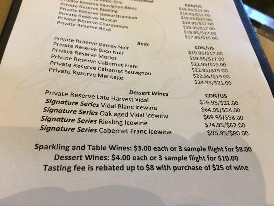 Peller Estates Winery : tasting menu The Cabernet Franc Icewine is to die for:)
