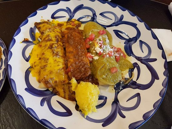 3 Item combo with two enchiladas and a tamale at Chevys Fresh Mex in Emeryville.